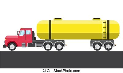 Motion animation of a color flat Gasoline tanker. Empty place for your text or logo. 4K resolution