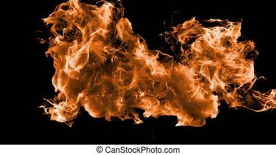 Motion Background VJ Loop - Orange Fire Particles 4k + Matte