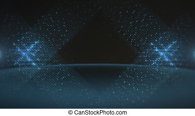 Motion blue lines of dots, abstract background