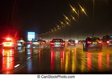 Motion Blur British Motorway Traffic and Police