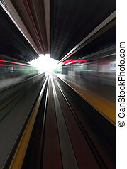Motion blur in a commuter train station