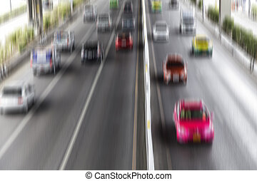 Motion blur of cars on the road