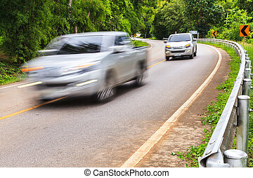 Cars on Winding Road - Motion blur of Cars on Winding Road