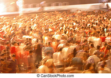 motion blur of crowd - crowd movement in a rock concert