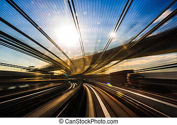 Motion blur of Japanese mono rail