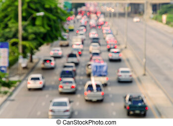 Motion blur of traffic jam on road in city