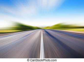 motion blur on road - driving at high speed in empty road -...