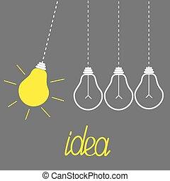 motion., bulbs., lumière, concept., perpétuel, idée, jaune,...