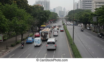 motion cars go through the city street