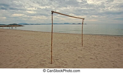 Motion Close to Volleyball Net on Empty Sand Beach