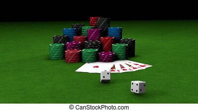 motion., coloré, casino., deux, loin, gros plan, vert, ...