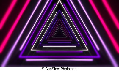 Motion colorful laser neon triangles, abstract background. Elegant and luxury dynamic club style template
