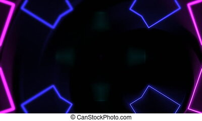Motion colorful neon geometric shape in space, abstract background