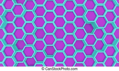 Motion design of geometric hexagon surface loop. Grid...