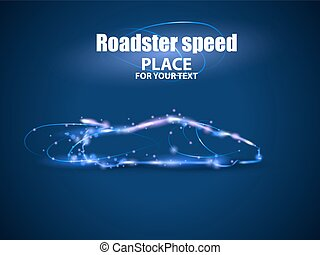 Motion design. Roadster particles, symbolizing speed. Blur...