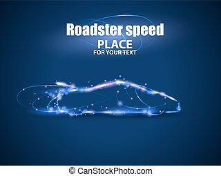 Motion design. Roadster particles, symbolizing speed. Blur...