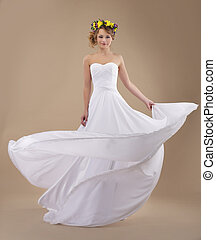 motion., donna, luce, ghirlanda, vestire, fiori, starnazzando