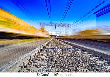 motion., effet, mouvement, station, barbouillage, chemin fer, ferroviaire