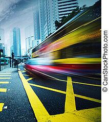 motion., fortkörning, buss, suddig