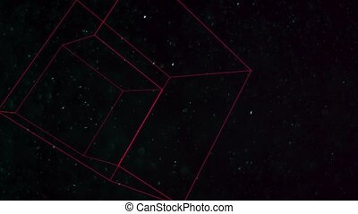 Motion geometric cubes with particles in space, abstract black dark background