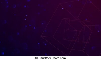Motion geometric cubes with particles in space, abstract purple dark background