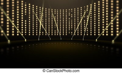 Motion gold lights and stage, abstract background