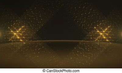 Motion gold lines of dots, abstract background
