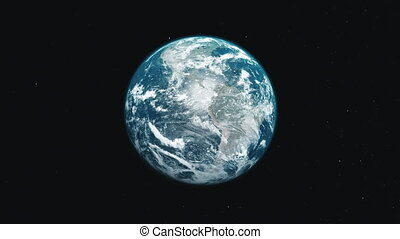 motion graph blue and white planet Earth orbits around Sun -...
