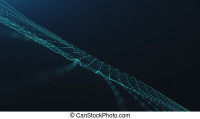 motion graph blue information units connected into lacy net...