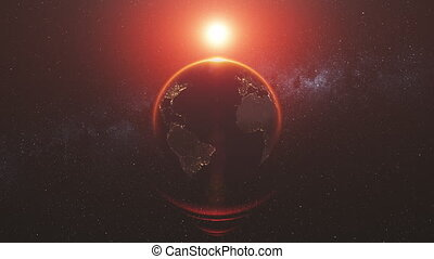 motion graph bright Sun shines on pictorial planet Earth -...