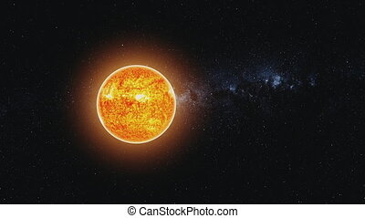motion graph orange Sun model shines in black outer space -...