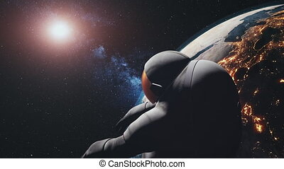 motion graph spaceman in white spacesuit in outer space -...