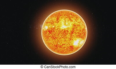 motion graph yellow Sun covered with lava and orange halo - ...