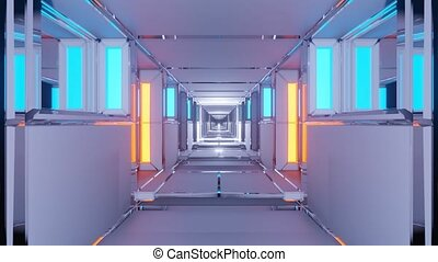 Motion graphic sci fi: moving inside futuristic commercial office grey large tiled interior corridor and passageway with neon yellow and teal column lights