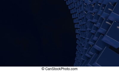 motion graphics 3d looped animation as background in 4k with simple cubes and depth of field. cubes move on a curved surface on the right, there is free space on the left