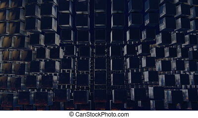 motion graphics 3d looped animation as background in 4k with simple cubes and depth of field. dark composition of swaying medium sized cubes, smooth wiggle