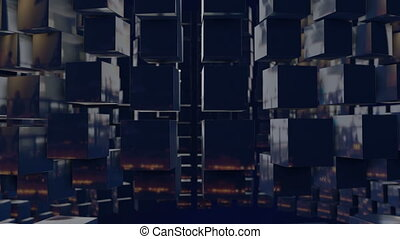 motion graphics 3d looped animation as background in 4k with simple cubes and depth of field. dark composition of swaying large sized cubes, smooth wiggle