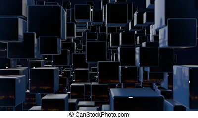 motion graphics 3d looped animation as dark background in 4k with simple cubes and depth of field. Dark composition with cubes with many highlights. wiggle animation of dark cubes 9