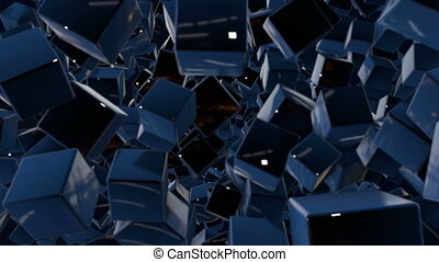 motion graphics 3d looped animation as dark background in 4k with simple cubes and with a shifting focus then back and forth, depth of field, bokeh effects. Dark composition with wiggle blue cubes 2