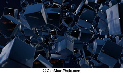 motion graphics 3d looped animation as dark background in 4k...