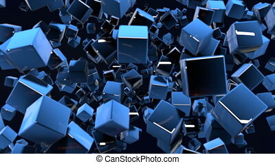 motion graphics 3d looped animation as dark background in 4k with simple cubes and with a shifting focus then back and forth, depth of field, bokeh effects. Dark composition with wiggle blue cubes 7