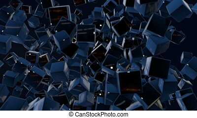 motion graphics 3d looped animation as dark background in 4k with simple cubes and with a shifting focus then back and forth, depth of field, bokeh effects. Dark composition with wiggle blue cubes 8