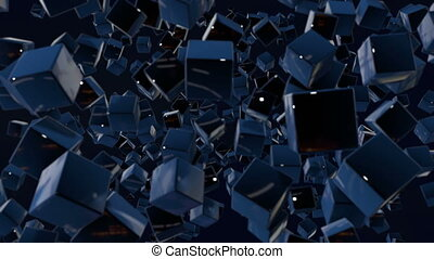 motion graphics 3d looped animation as dark background in 4k with simple cubes and with a shifting focus then back and forth, depth of field, bokeh effects. Dark composition with wiggle blue cubes 6