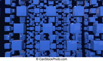 motion graphics 3d looped animation as dark background in 4k with simple cubes and with a shifting focus then back and forth, depth of field, bokeh effects. Dark wiggle composition with cubes
