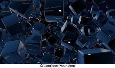 motion graphics 3d looped animation as dark background in 4k with simple cubes and with a shifting focus then back and forth, depth of field, bokeh effects. Dark composition with wiggle blue cubes 3