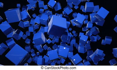 motion graphics 3d looped animation as dark background in 4k with simple cubes and with a shifting focus then back and forth, depth of field, bokeh effects. Dark composition with wiggle blue cubes 9