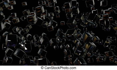 motion graphics 3d looped animation as geometric black background in 4k with simple objects and depth of field. Dark composition with many highlights on cubes. wiggle animation 2