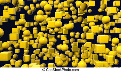 motion graphics 3d looped animation as geometric yellow background in 4k with simple objects and depth of field. Dark composition with many highlights on cubes, spheres. wiggle animation 1