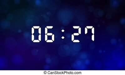 Motion Graphics Animation with White Ten Seconds Shiny Digital Bright Glowing Countdown Timer from 10 to 0 on Grunge Particular Bokeh Circle Effect Background.