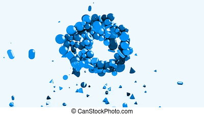 Motion graphics background - blue spiral made from toy geometric shapes spheres, cones, cubes and other elements